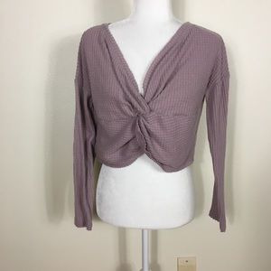 Out From Under Waffle Knit Twist Front Long Sleeve